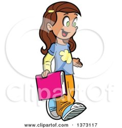 Clipart Of A Happy Brunette White School Girl Walking and Carrying a Book Royalty Free Vector Illustration by Clip Art Mascots #1373117