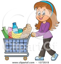 shopping clipart cartoon cart pushing woman groceries happy consumer grocery clip poster milk illustration royalty carton print bags gallon paper