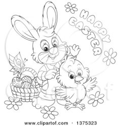 easter happy basket rabbit cute chick clipart flowers butterfly vector eggs illustration greeting royalty clip bannykh alex