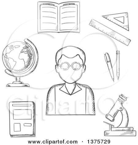 Clipart of a Black and White Sketched Magnet, Electric