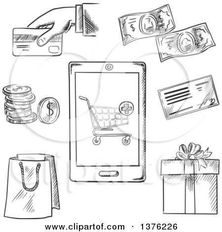 Clipart of Black and White Sketched Payment Options with a