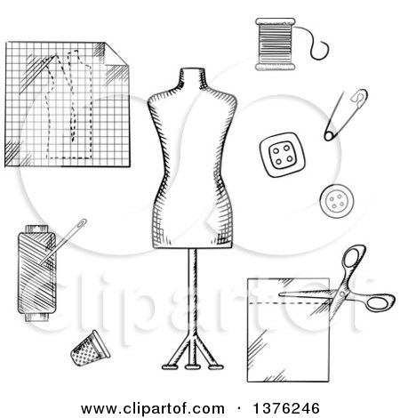 Clipart of a Black and White Sketched Mannequin, Scissors