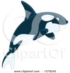 Clipart of a Cute Jumping Orca Killer Whale Royalty Free Vector Illustration by Alex Bannykh #1379245