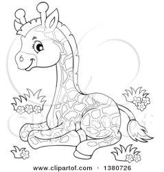 giraffe clipart lineart resting clip animal visekart vector collc0161 mother