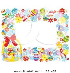 easter border horizontal frame clipart basket eggs flowers illustration vector royalty alex bannykh clip