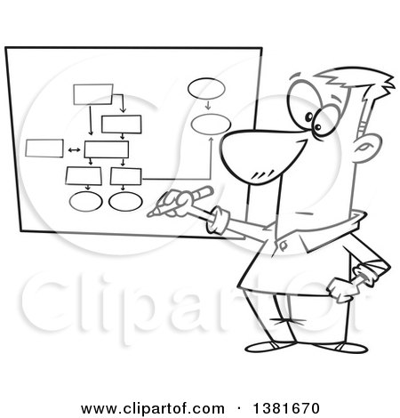 Clipart of a Cartoon Black and White Business Man Drawing