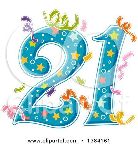 clipart of number 21 with party
