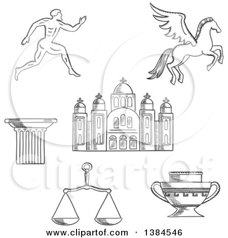 Clipart of a Black and White Sketched Greek Emperor