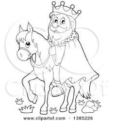 Clipart of a Black and White Lineart Happy Caucasian Horseback King Royalty Free Vector Illustration by visekart #1385226