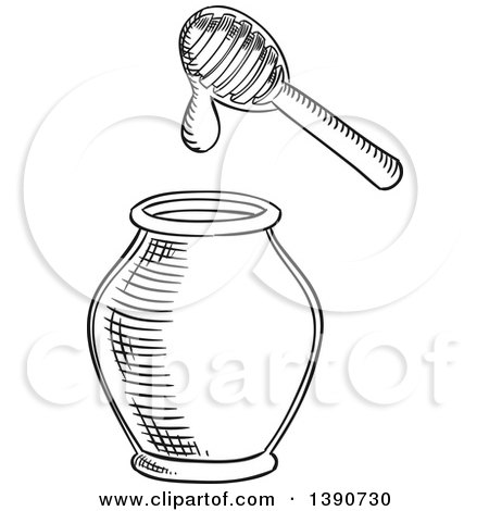Clipart Of A Black And White Sketched Jar Royalty Free Vector Illustration By Vector Tradition