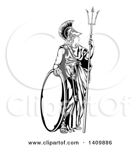 Clipart of a Grayscale Profile Portrait of the Roman
