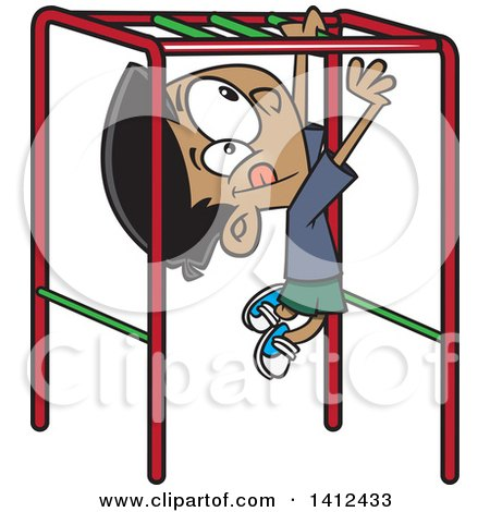 Clipart of a Cartoon Indian Boy Playing on Playground