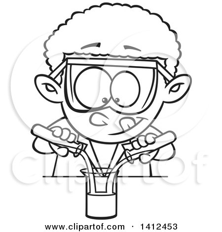 Clipart of a Cartoon Black and White Lineart African