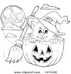 halloween pumpkin cat cute witch clipart lineart vector illustration royalty visekart