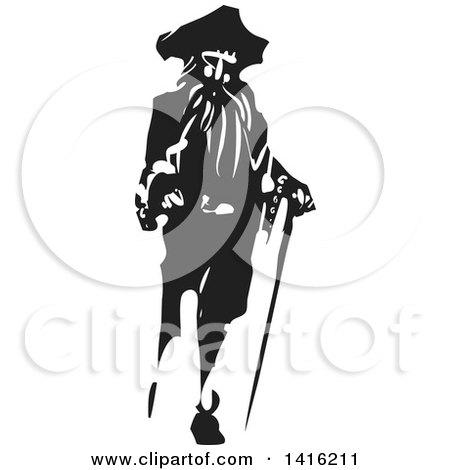 Clipart Of A Black And White Woodcut Pirate Captain With A