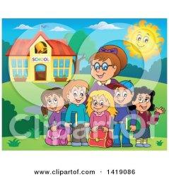 building outside teacher happy clipart students female royalty illustration visekart cliparts vector clip