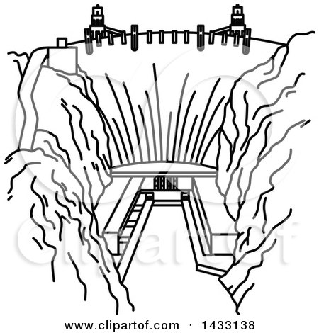 River of Water Coming From a Dam Around a Lake Clipart