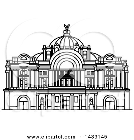 Clipart of a Black and White Line Drawing Styled Mexican