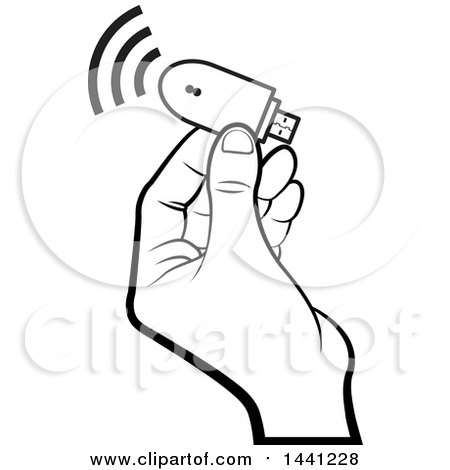 Clipart of a Black and White Hand Holding a Computer