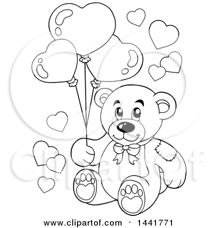 Clipart of a Black and White Lineart Valentine Teddy Bear