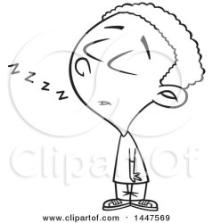 standing boy cartoon dozing african american while clipart lineart illustration royalty vector toonaday clip
