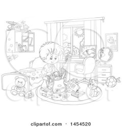 Clipart Graphic of a Cartoon Black and White Lineart School Boy Packing His Backpack in His Bedroom Royalty Free Vector Illustration by Alex Bannykh #1454520
