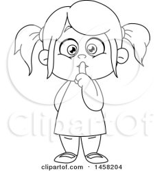 Clipart of a Black and White Girl Gesturing to Be Quiet Royalty Free Vector Illustration by yayayoyo #1458204