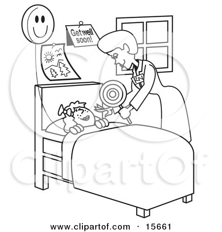 Coloring Book Page Of A Friendly Registered Nurse Bending