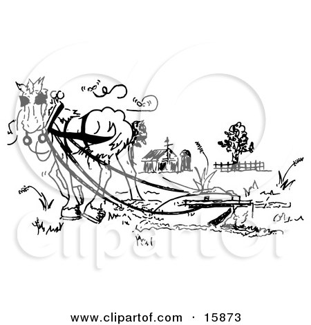 Coloring pages horse and plow