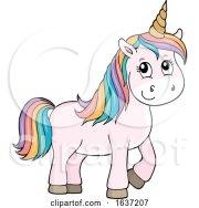 cute unicorn with rainbow hair