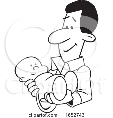 Cartoon Lineart Proud Black Father Holding His Baby by