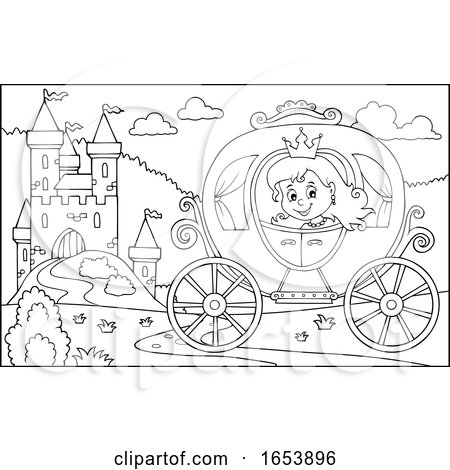 Black and White Fairy Tale Princess in a Carriage near a