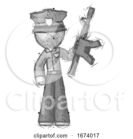 Sketch Police Man Holding Automatic Gun by Leo Blanchette