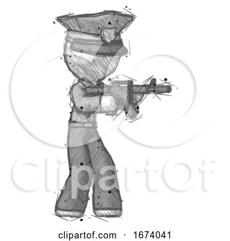 Sketch Police Man Shooting Automatic Assault Weapon by Leo