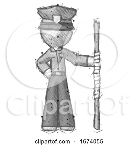Sketch Police Man Holding Staff or Bo Staff by Leo
