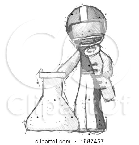 Sketch Football Player Man Holding Test Tube Beside Beaker