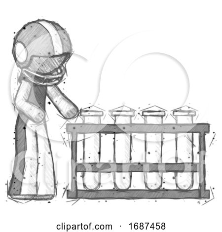Sketch Football Player Man Using Test Tubes or Vials on