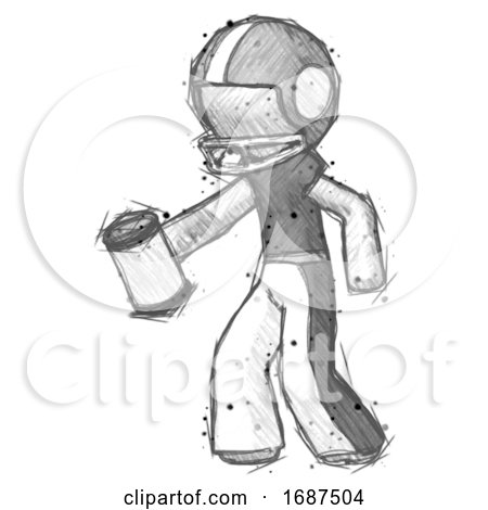 Sketch Football Player Man Begger Holding Can Begging or