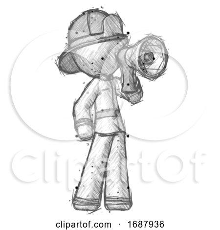 Sketch Firefighter Fireman Man Shouting into Megaphone