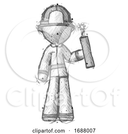Sketch Firefighter Fireman Man Holding Dynamite with Fuse