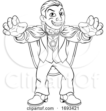Dracula Halloween Vampire Monster Cartoon by