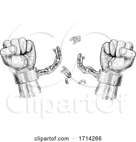 Hands Breaking Chain Shackle Handcuffs by