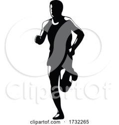 Marathon Runner Running Front Silhouette Retro Blakc and
