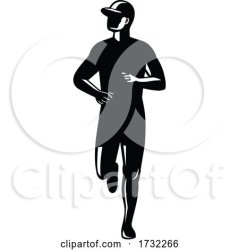 Silhouette of Country Marathon Runner Running Front View