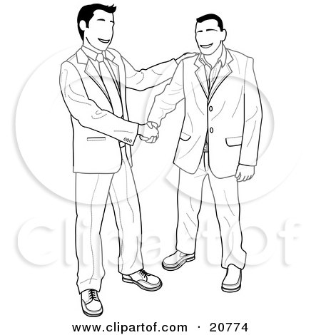 Clipart Illustration of a Happy Client Shaking Hands With