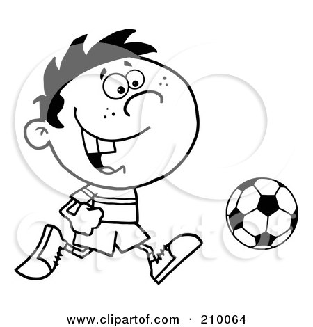 Coloring Page Outline Of A Cartoon Soccer Player Boy