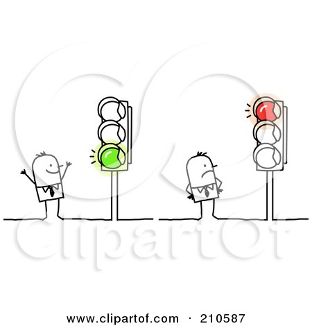 Stick Person Business Men Looking At Red And Green Lights