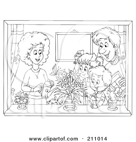 Coloring Page Outline Of A Happy Family Watering Plants In