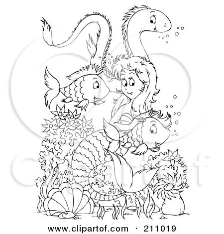 Clipart Illustration of a Brunette Mermaid Swimming With A