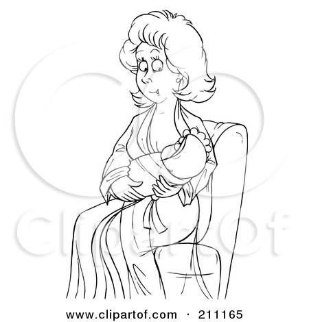 Coloring Page Outline Of A New Mother Nursing Her Child